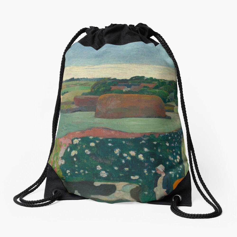 Haystacks in Brittany Oil Painting by Paul Gauguin Drawstring Bag