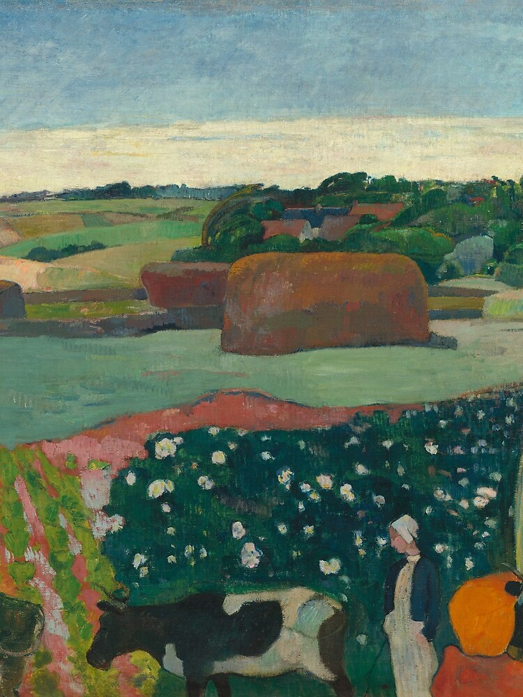 Haystacks in Brittany Oil Painting by Paul Gauguin by podartist