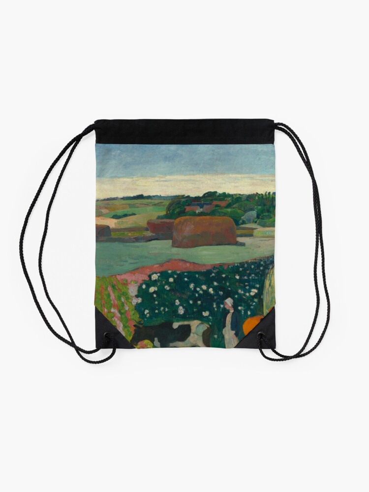 Alternate view of Haystacks in Brittany Oil Painting by Paul Gauguin Drawstring Bag