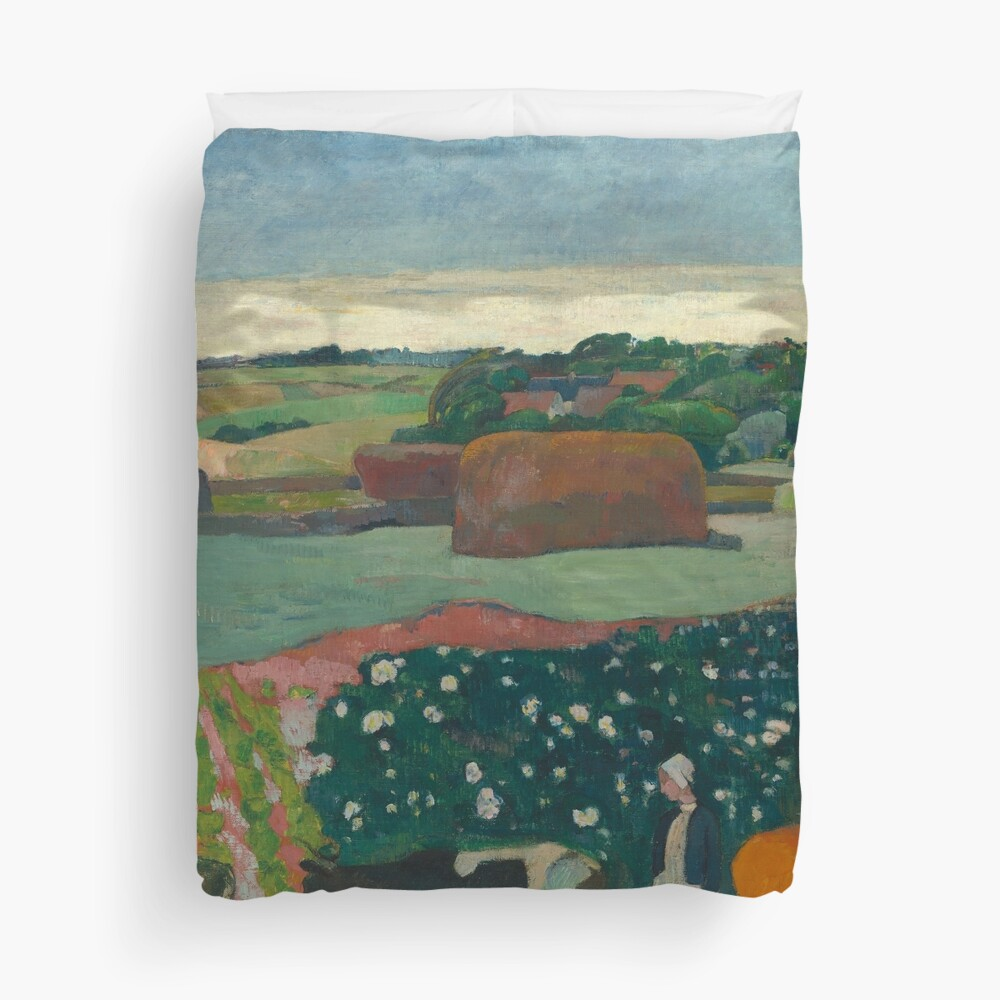 Haystacks in Brittany Oil Painting by Paul Gauguin Duvet Cover