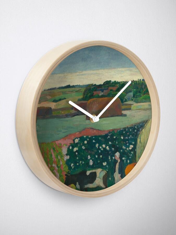 Alternate view of Haystacks in Brittany Oil Painting by Paul Gauguin Clock