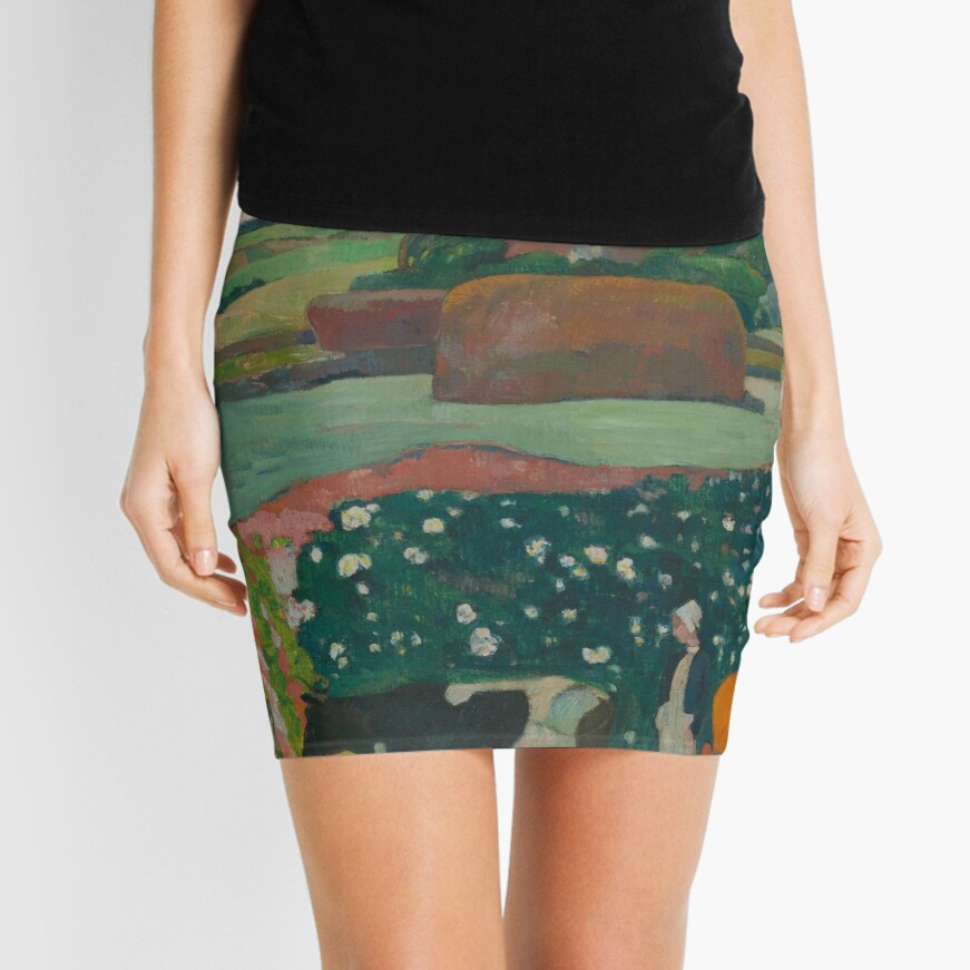 Haystacks in Brittany Oil Painting by Paul Gauguin Mini Skirt