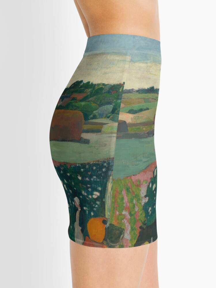 Alternate view of Haystacks in Brittany Oil Painting by Paul Gauguin Mini Skirt