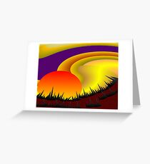 Sunset In A Red Field Greeting Card