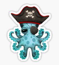 Cute Blue Baby Octopus Pirate Sticker