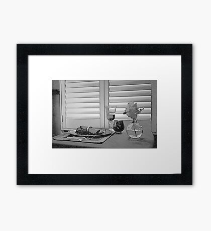 Sitting by the Window in Black and White Framed Print