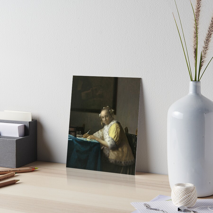A Lady Writing Oil Painting by Johannes Vermeer Art Board Print