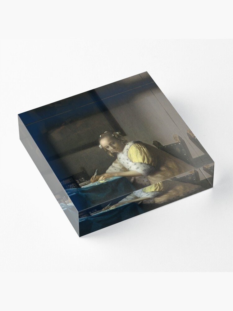 Alternate view of A Lady Writing Oil Painting by Johannes Vermeer Acrylic Block