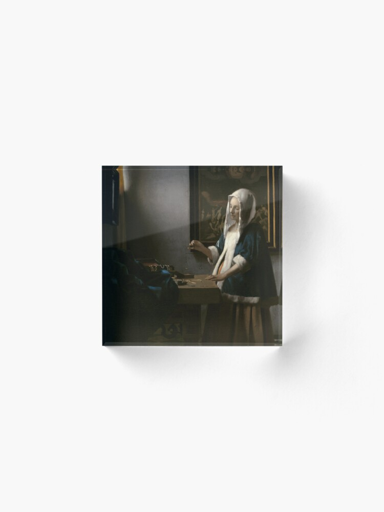 Alternate view of Woman Holding a Balance Oil Painting by Johannes Vermeer Acrylic Block