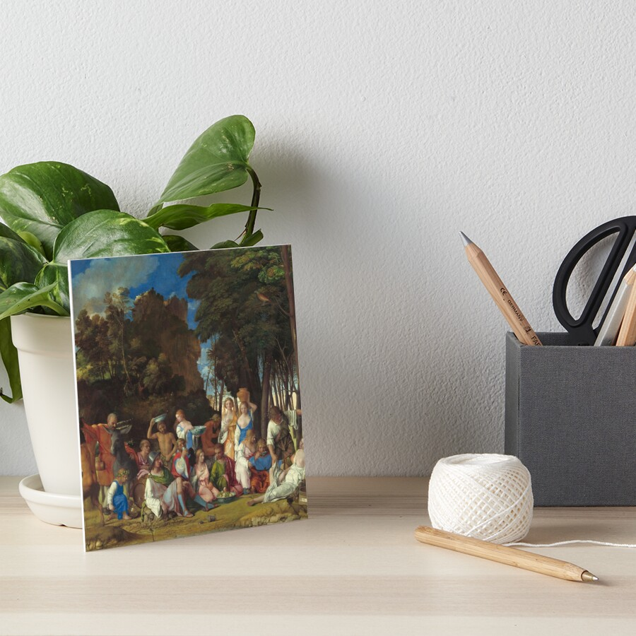 The Feast of the Gods Painting by Giovanni Bellini and Titian Art Board Print