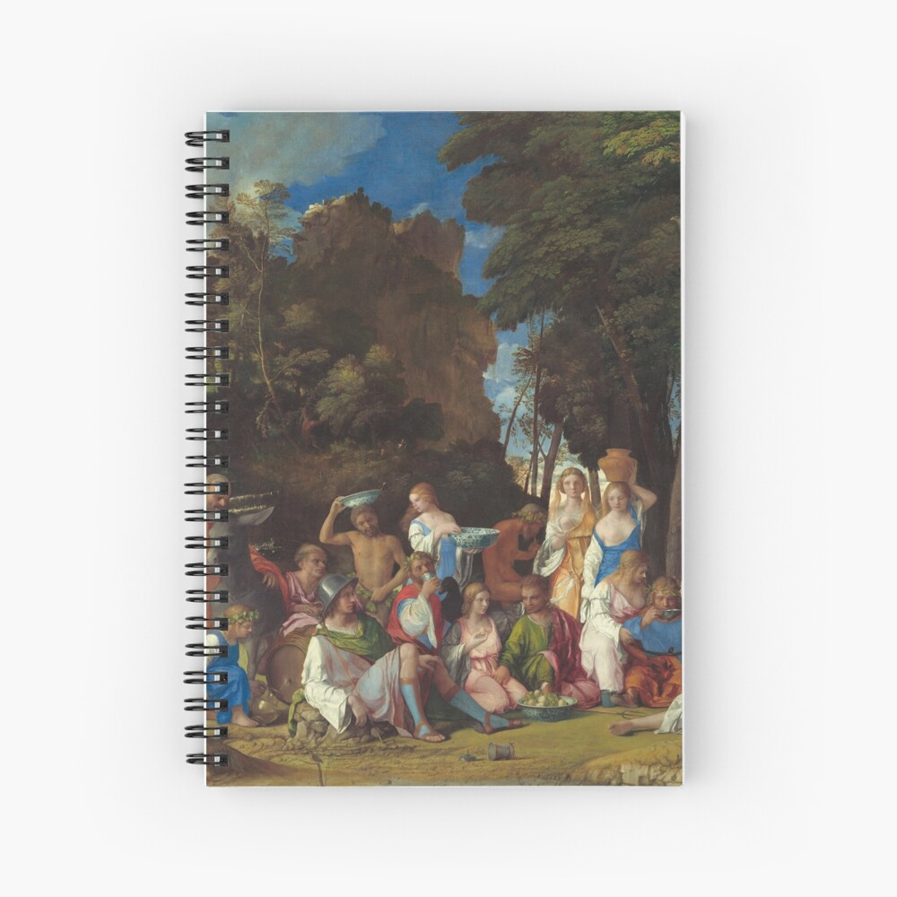 The Feast of the Gods Painting by Giovanni Bellini and Titian Spiral Notebook