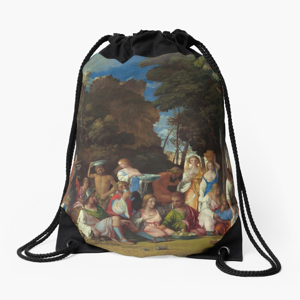 The Feast of the Gods Painting by Giovanni Bellini and Titian Drawstring Bag