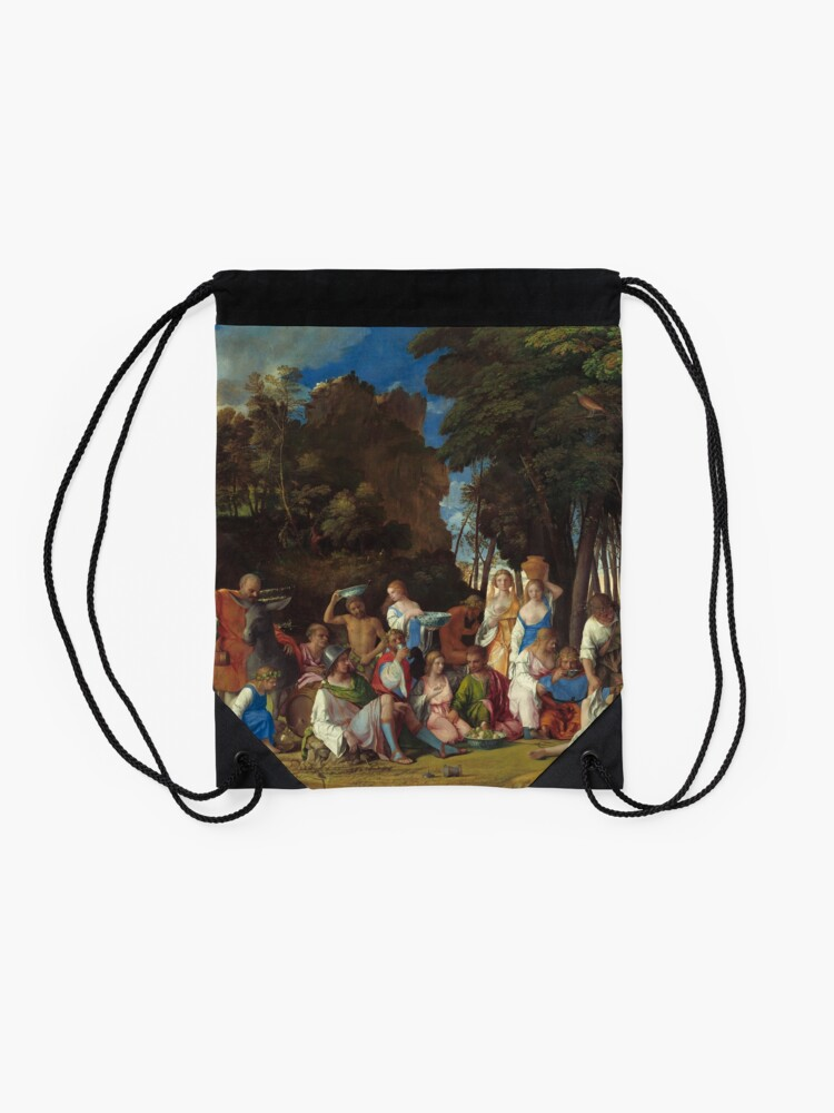 Alternate view of The Feast of the Gods Painting by Giovanni Bellini and Titian Drawstring Bag