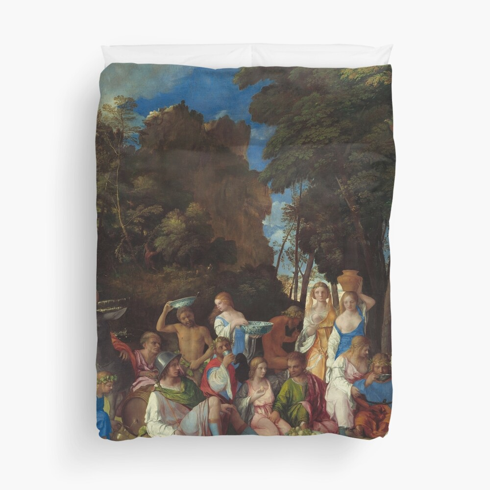 The Feast of the Gods Painting by Giovanni Bellini and Titian Duvet Cover