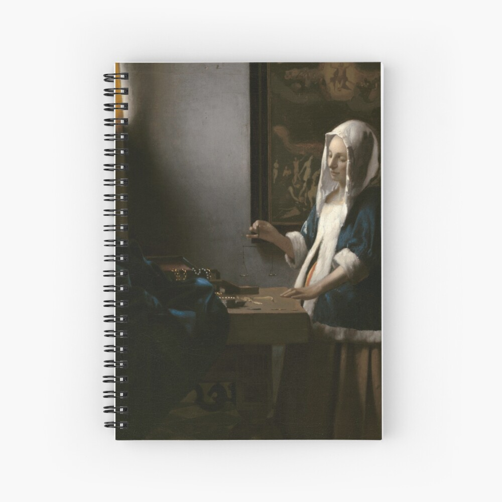 Woman Holding a Balance Oil Painting by Johannes Vermeer Spiral Notebook