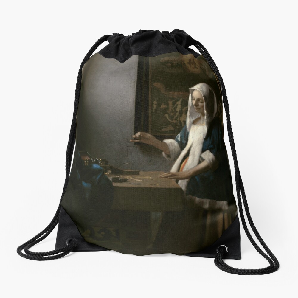 Woman Holding a Balance Oil Painting by Johannes Vermeer Drawstring Bag
