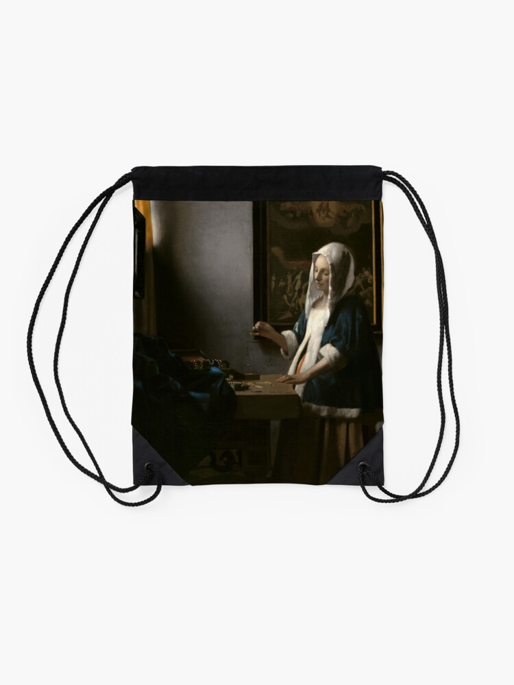 Alternate view of Woman Holding a Balance Oil Painting by Johannes Vermeer Drawstring Bag