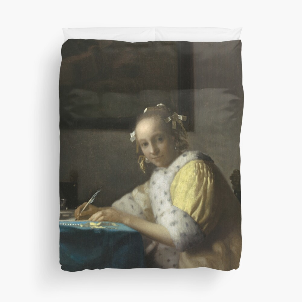 A Lady Writing Oil Painting by Johannes Vermeer Duvet Cover