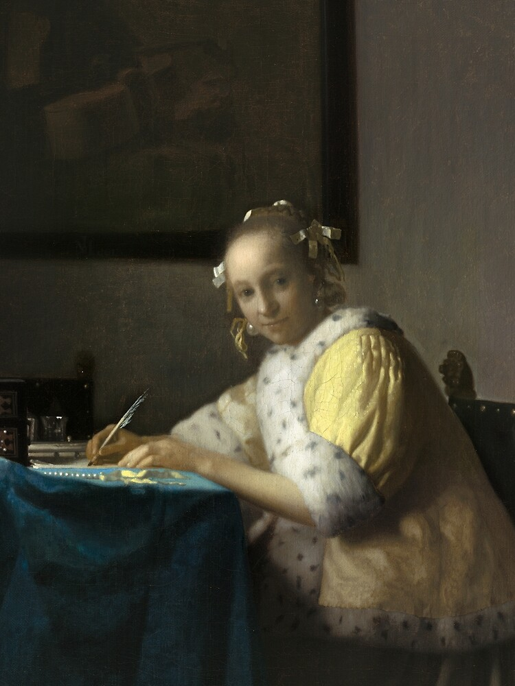 A Lady Writing Oil Painting by Johannes Vermeer by podartist