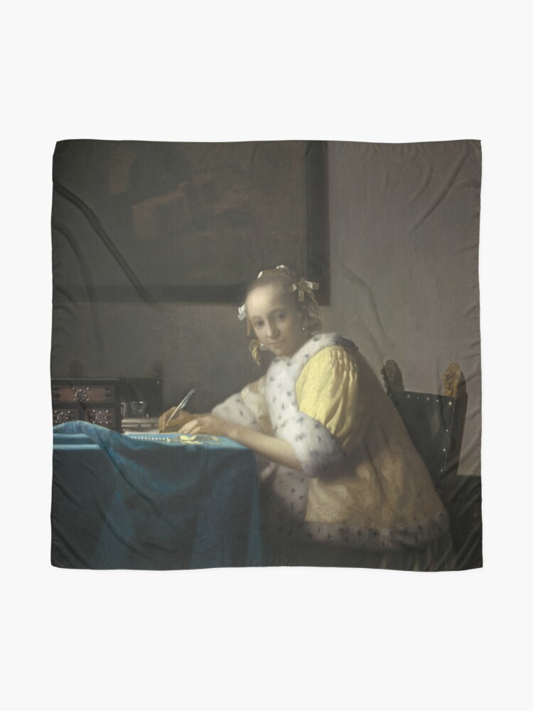 Alternate view of A Lady Writing Oil Painting by Johannes Vermeer Scarf