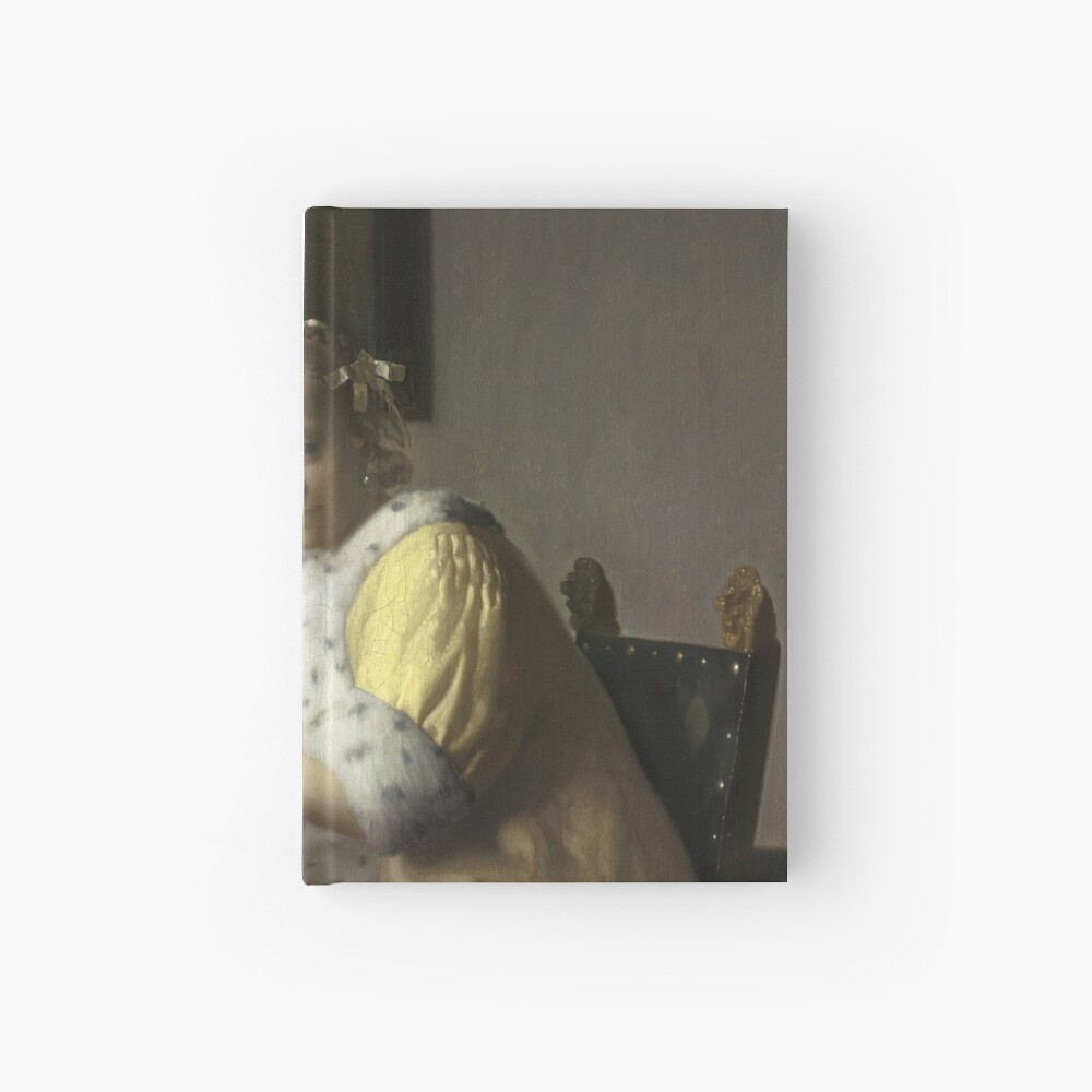 A Lady Writing Oil Painting by Johannes Vermeer Hardcover Journal