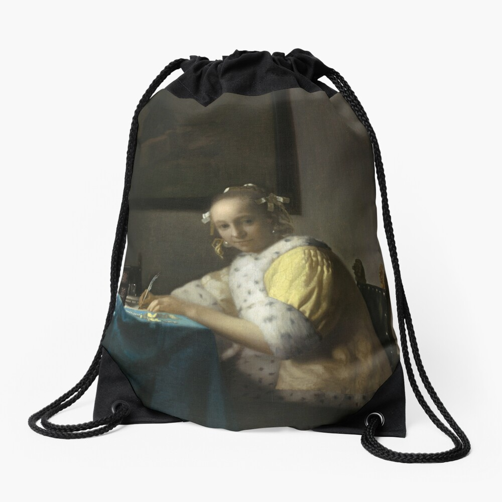 A Lady Writing Oil Painting by Johannes Vermeer Drawstring Bag
