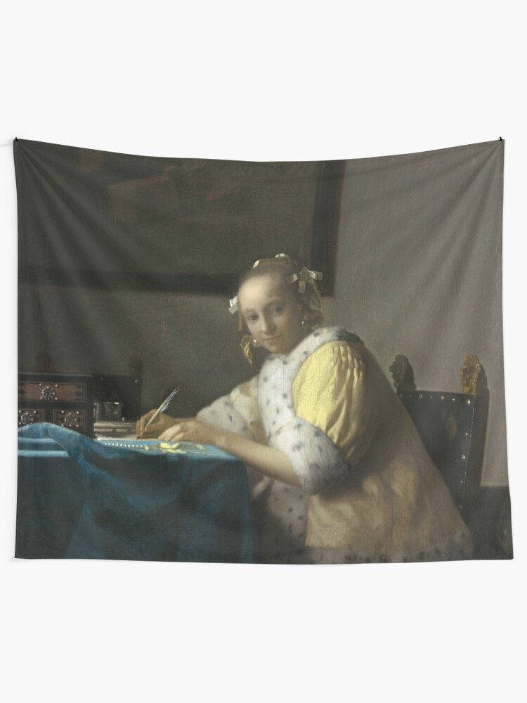 Alternate view of A Lady Writing Oil Painting by Johannes Vermeer Tapestry