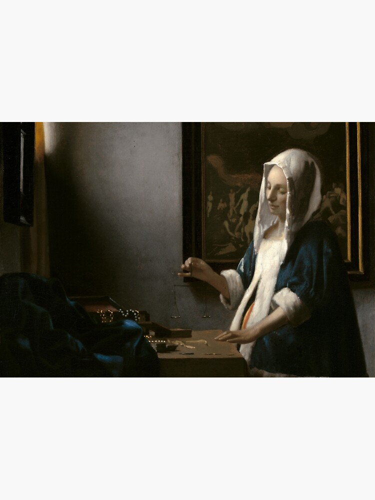 Woman Holding a Balance Oil Painting by Johannes Vermeer by podartist