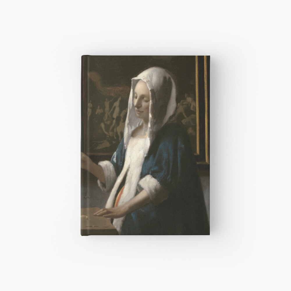 Woman Holding a Balance Oil Painting by Johannes Vermeer Hardcover Journal