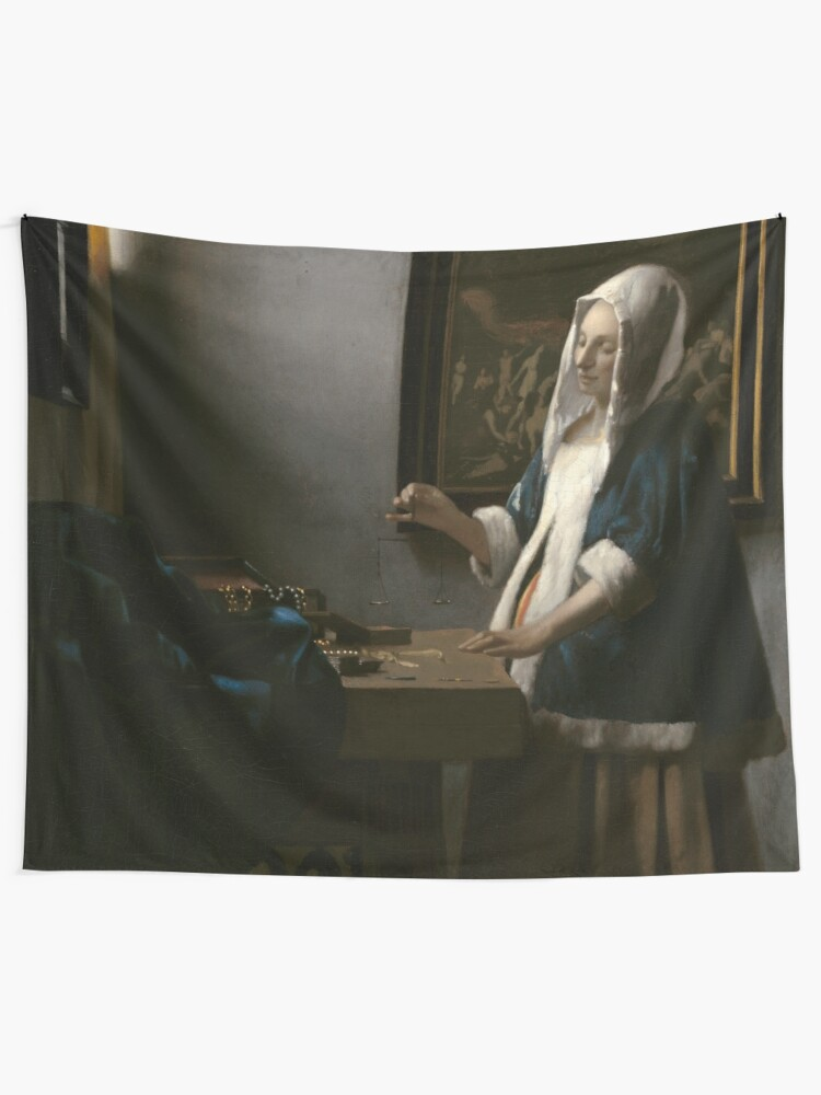 Alternate view of Woman Holding a Balance Oil Painting by Johannes Vermeer Tapestry