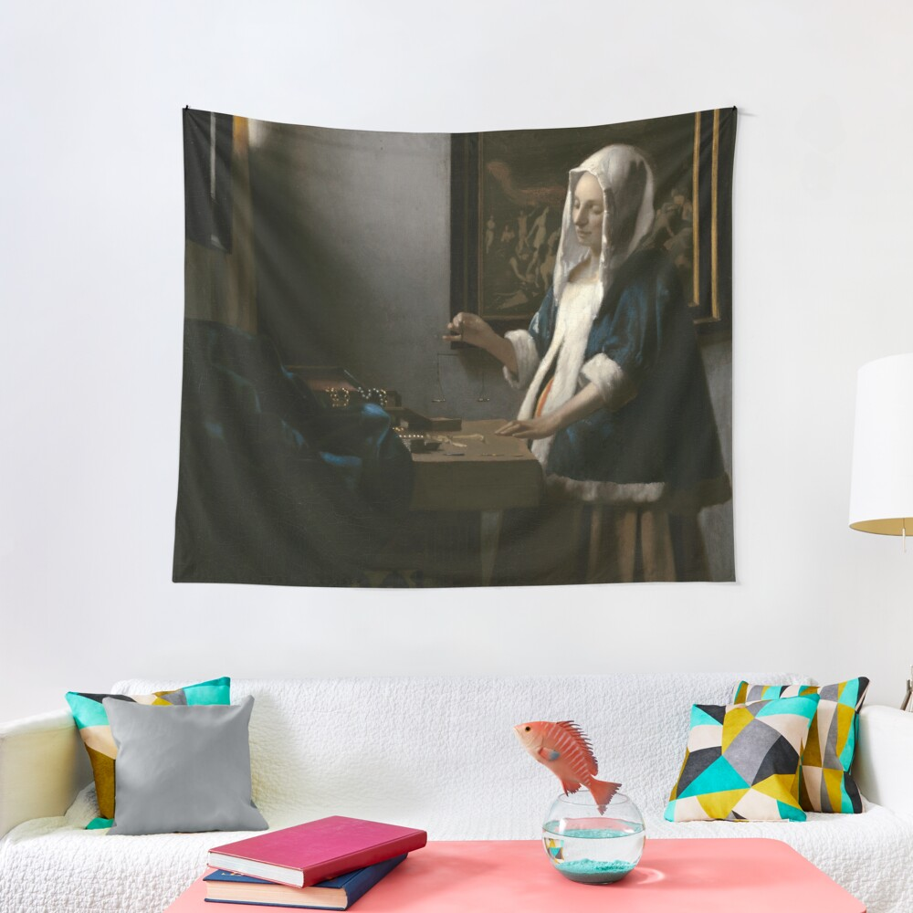 Woman Holding a Balance Oil Painting by Johannes Vermeer Tapestry