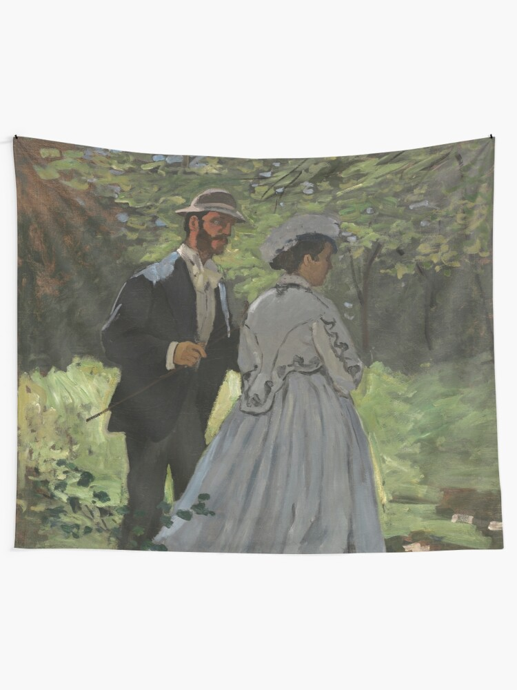 Alternate view of Bazille and Camille Painting by Claude Monet Tapestry