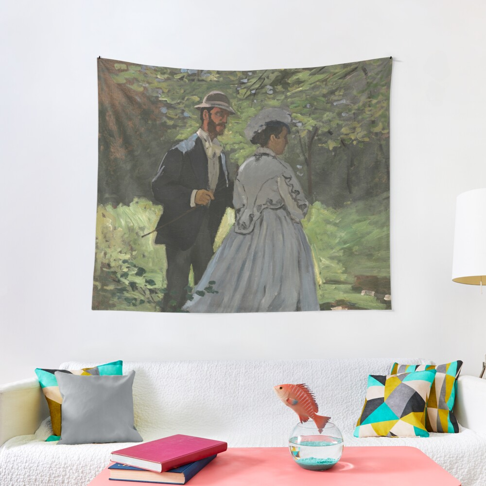 Bazille and Camille Painting by Claude Monet Tapestry