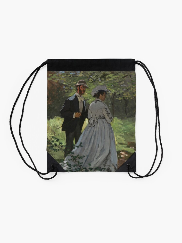 Alternate view of Bazille and Camille Painting by Claude Monet Drawstring Bag