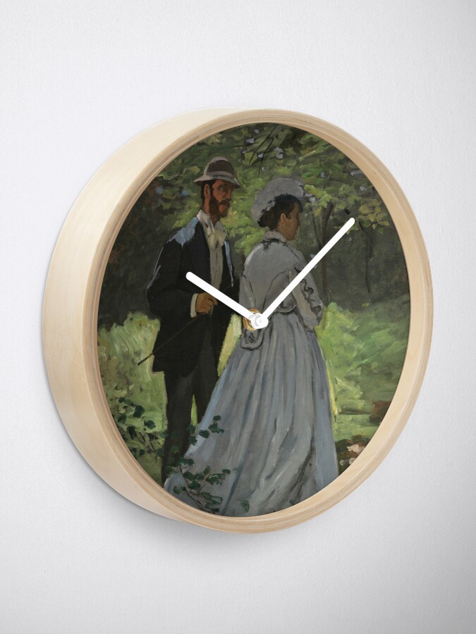 Alternate view of Bazille and Camille Painting by Claude Monet Clock