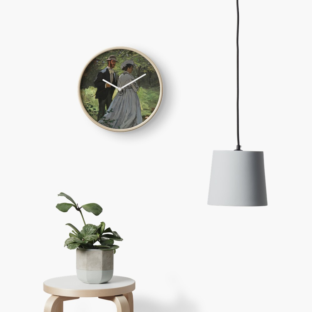 Bazille and Camille Painting by Claude Monet Clock