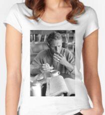 Steve McQueen eats a donut Women's Fitted Scoop T-Shirt
