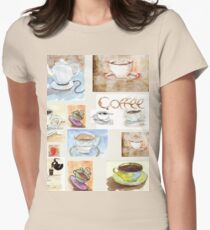 Tea/Coffee collage Womens Fitted T-Shirt