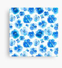 Blue pansies loose watercolor art pattern Canvas Print
