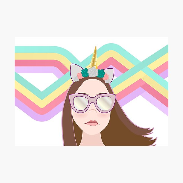 Unicorn Pastel Girl Photographic Print