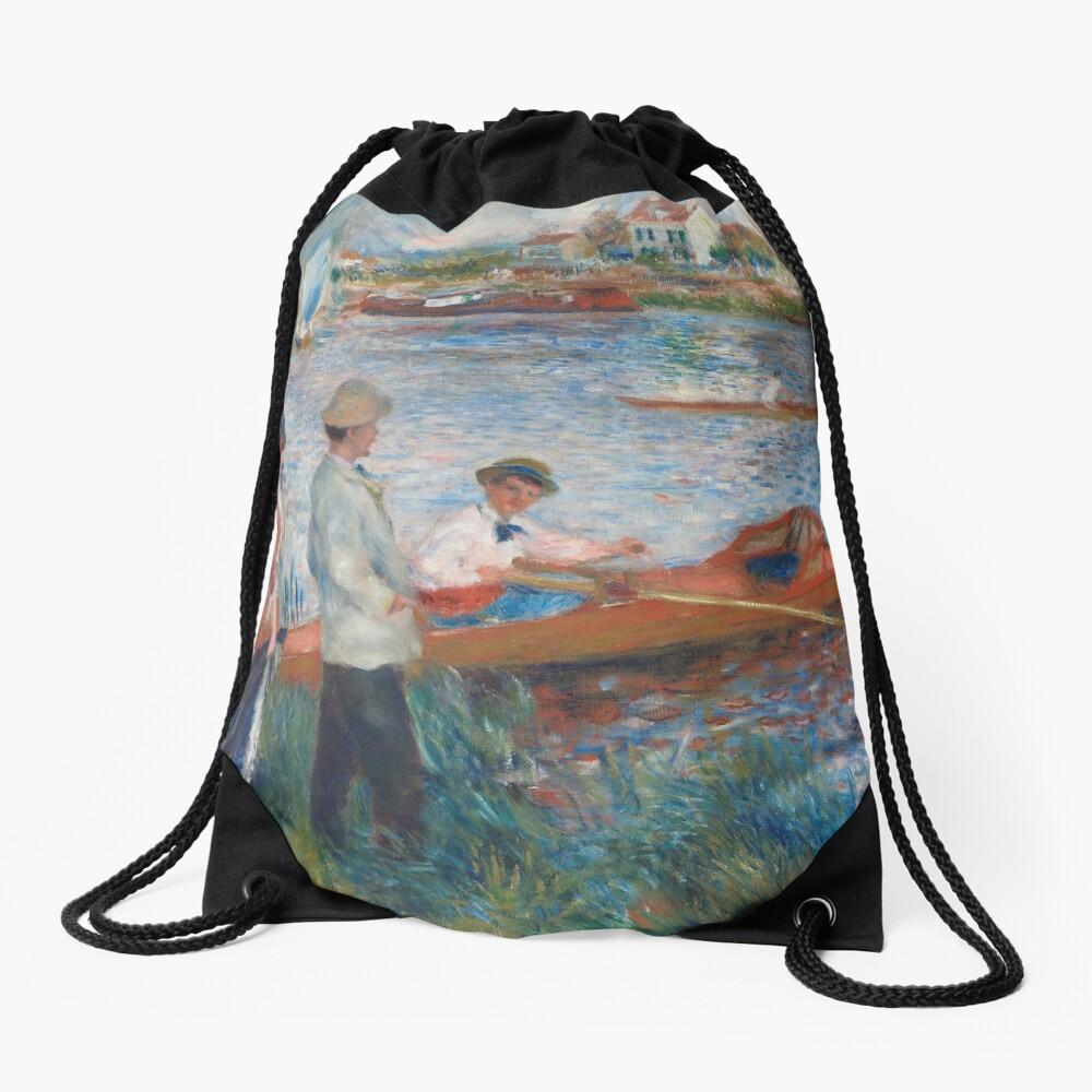 Oarsmen at Chatou Painting by Auguste Renoir Drawstring Bag