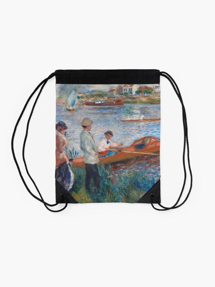 Alternate view of Oarsmen at Chatou Painting by Auguste Renoir Drawstring Bag