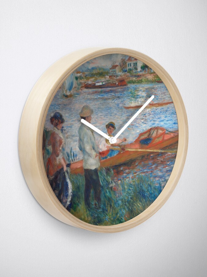 Alternate view of Oarsmen at Chatou Painting by Auguste Renoir Clock