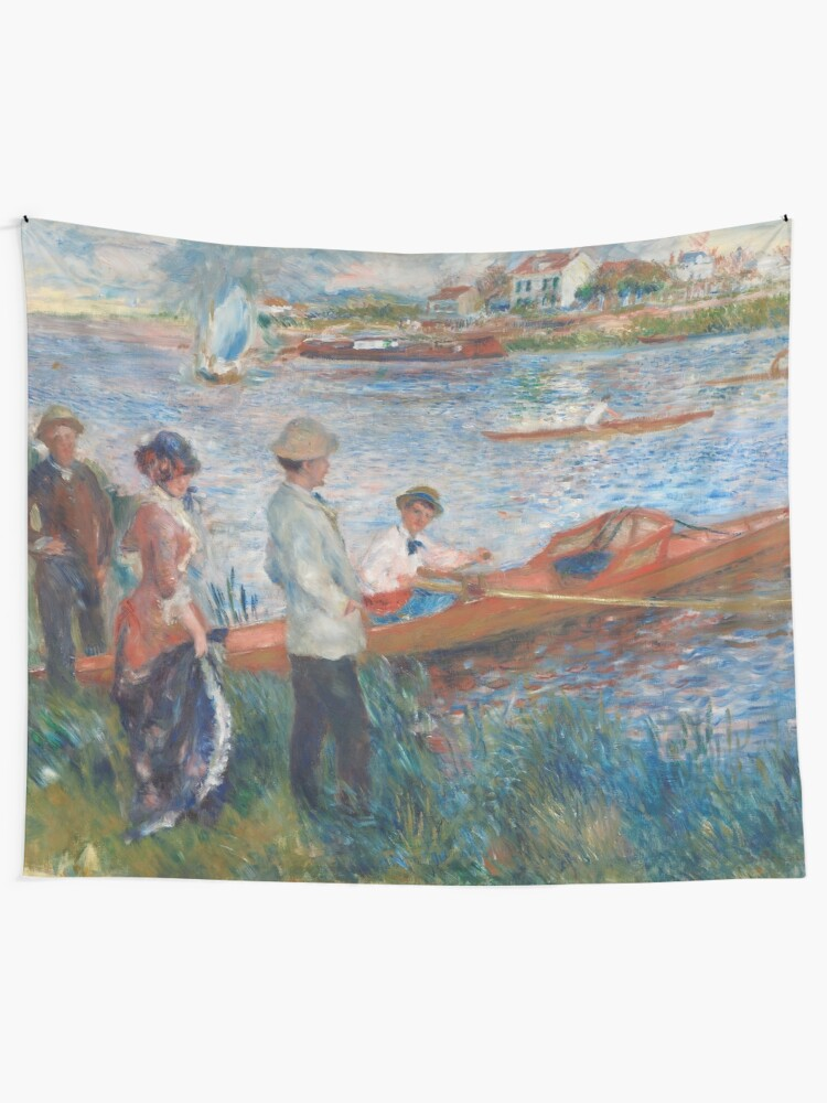 Alternate view of Oarsmen at Chatou Painting by Auguste Renoir Tapestry