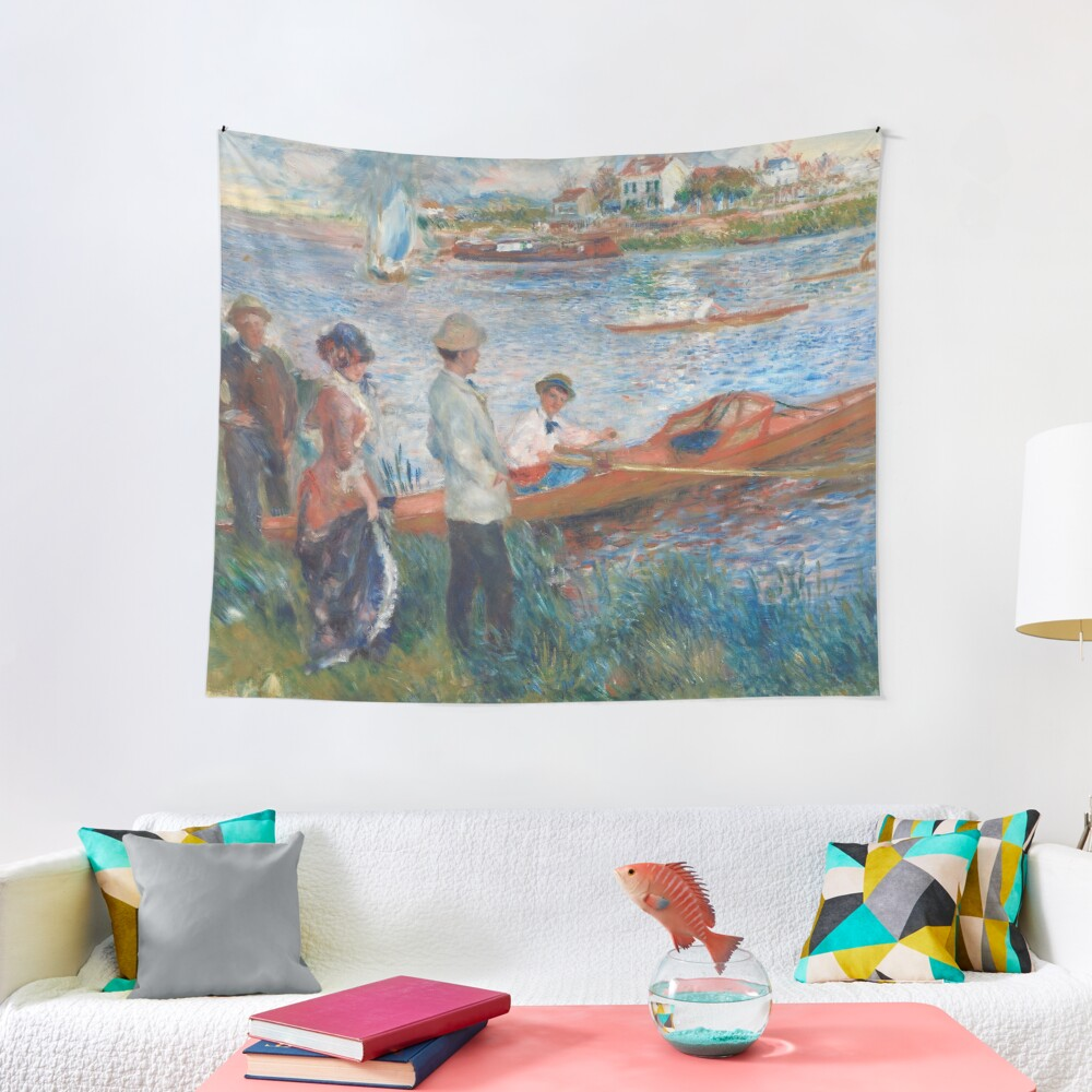 Oarsmen at Chatou Painting by Auguste Renoir Tapestry