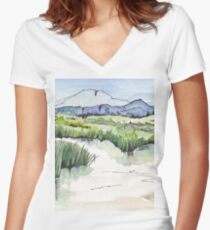 Wetland in Tarlton, Gauteng, South Africa Women's Fitted V-Neck T-Shirt
