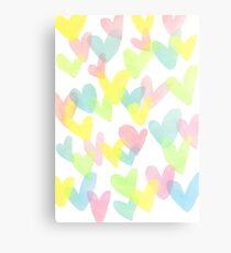 Colourful Pastel Hearts Watercolour Canvas Print