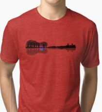 Music instrument tree silhouette ukulele guitar shape Tri-blend T-Shirt
