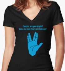 Concerned Vulcan Women's Fitted V-Neck T-Shirt