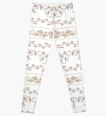 Ribbons and Roses One Blue & Pink On White Leggings